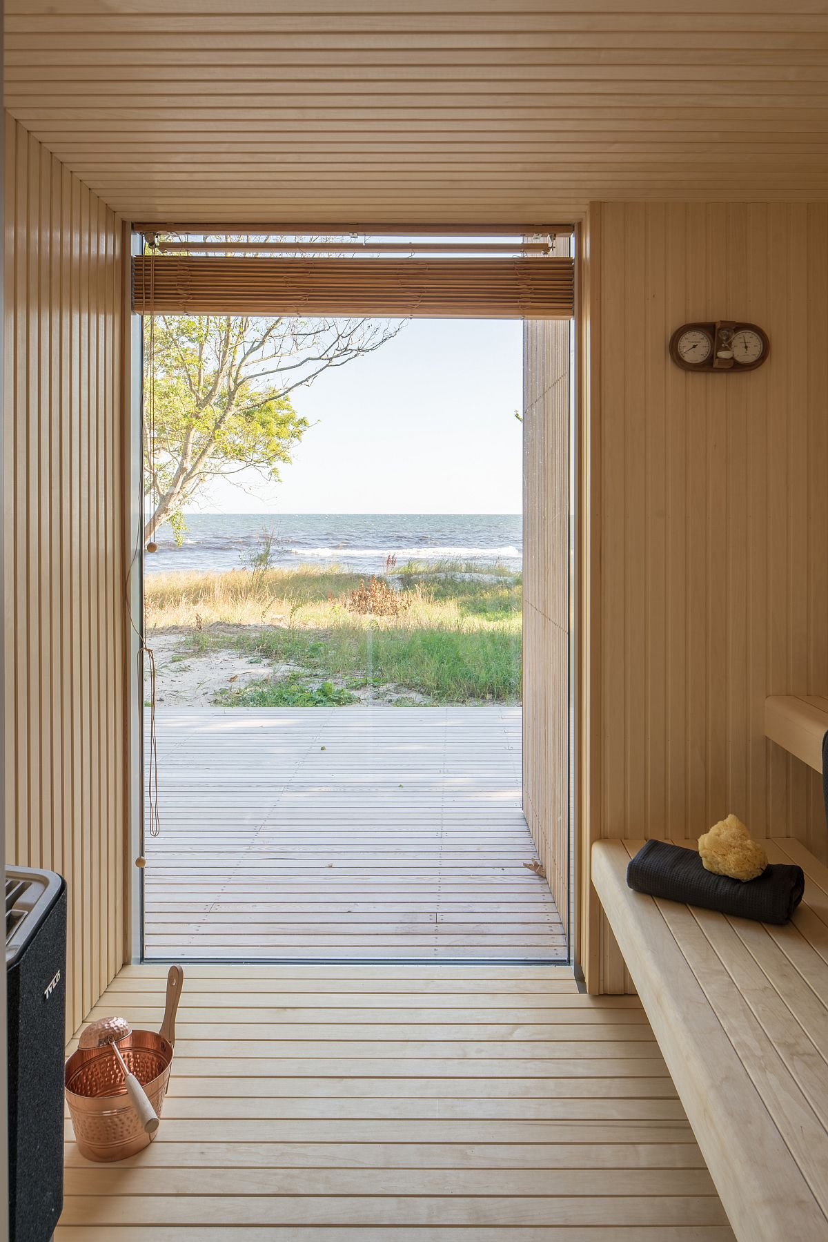 Sauna room of the summer house offers view of the beach and the Baltic Sea