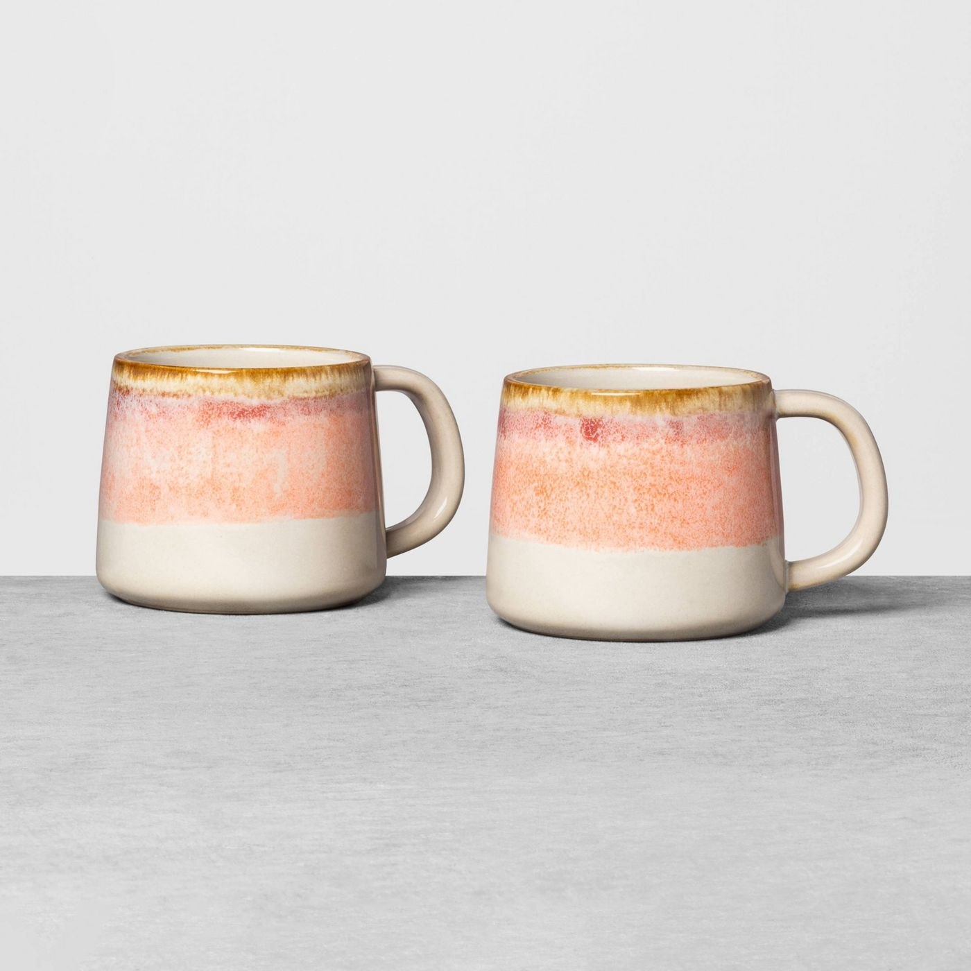 Shades of peach and pink in a set of mugs by Hearth and Hand