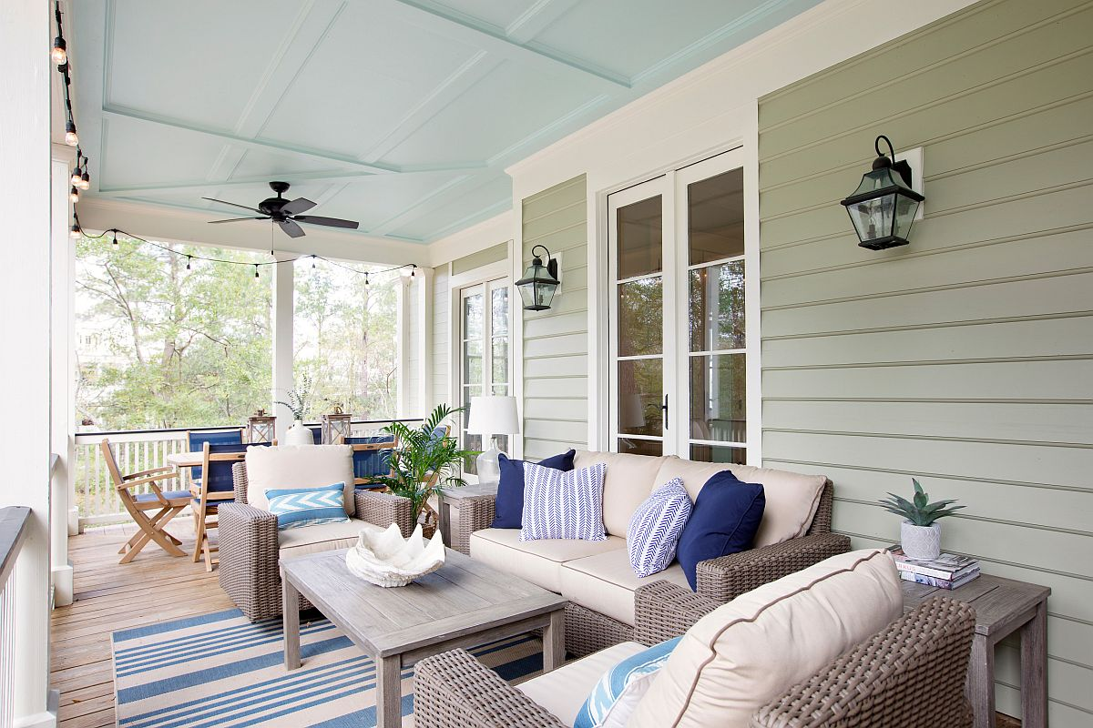 Shift between colors on the porch by changing accent cushions and rugs
