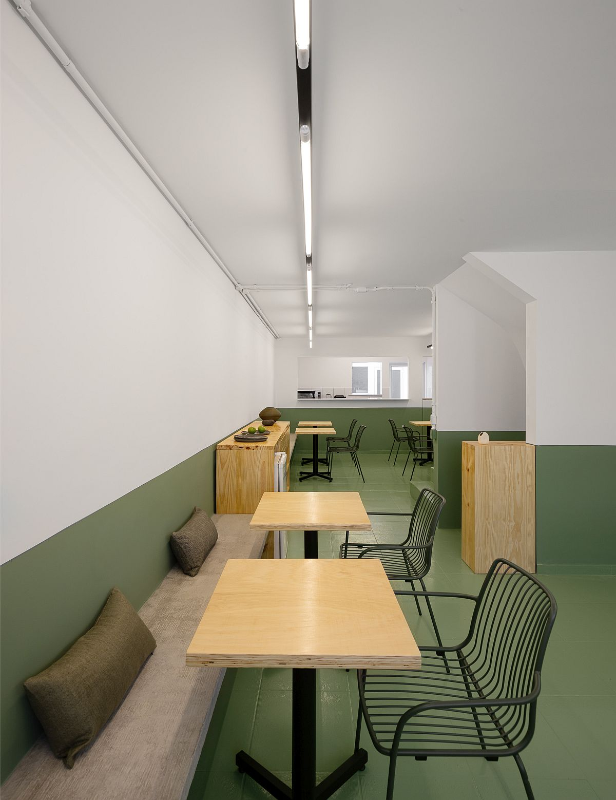 Simple and minimal decor inside the restaurant in Sao Paulo