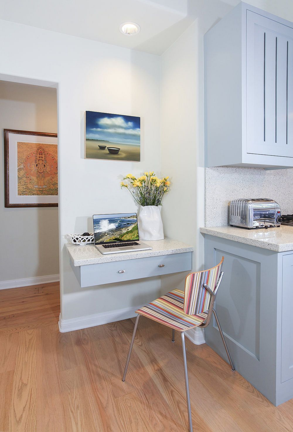 Simple floating drawer in the kitchen has been transformed into a work area!