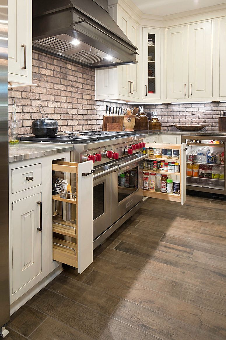 Smart modern sliding shelves and cabinets can turn even the tiniest space into a lovely pantry