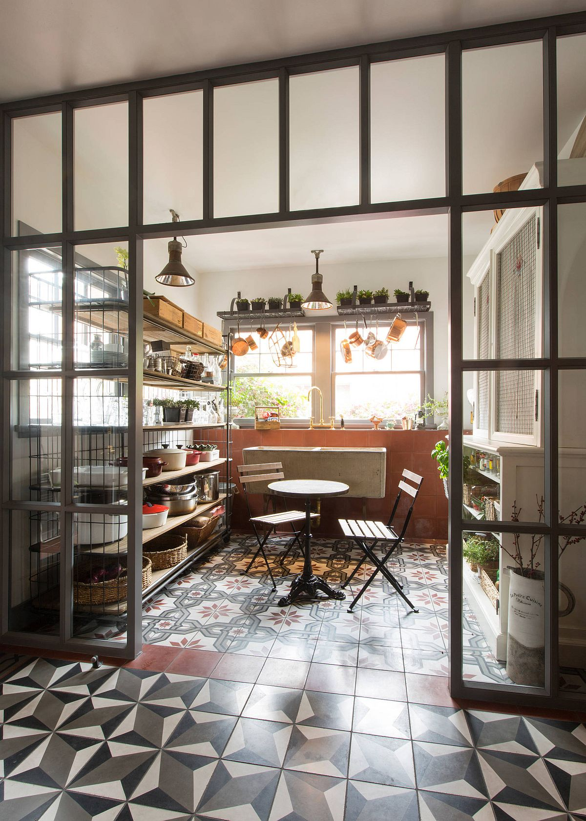 Snazzy and easy way to combine the industrial style pantry with the dining room
