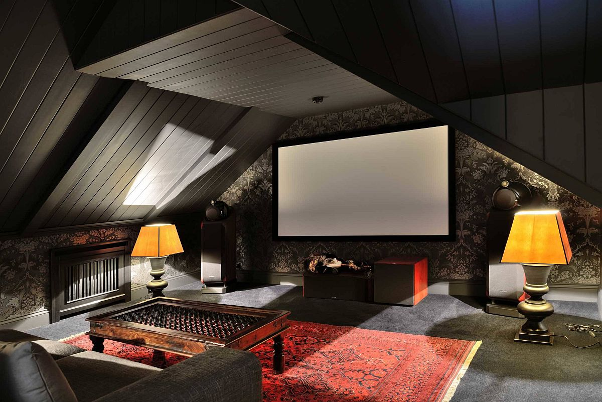 Sophisticated ceiling design accentuates the dramaic appeal of this small home theater in black