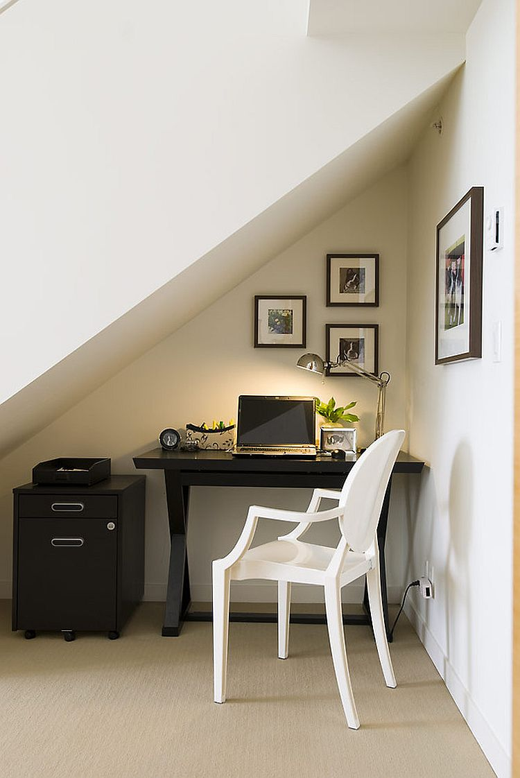 Space under the staircase is the perfect little nook for a temporary workstation that is also private