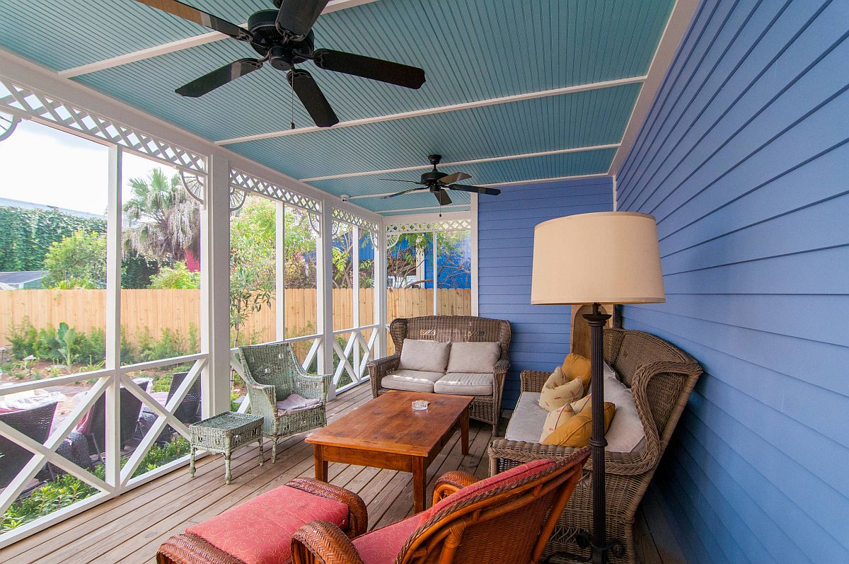 Spacious eclectic porch in blue is one where color is always welcome!