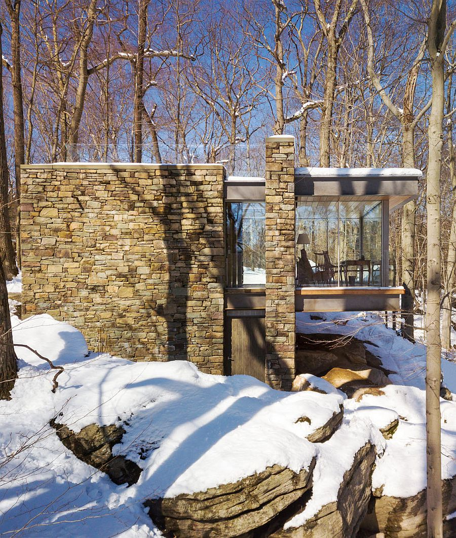 Stone and glass combine to create a beautiful Writer's Studio in Connecticut