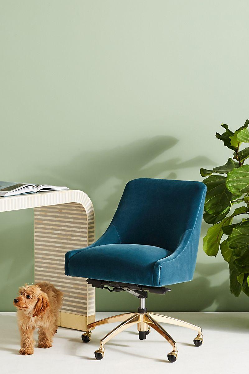 Swivel desk chair in blue velvet