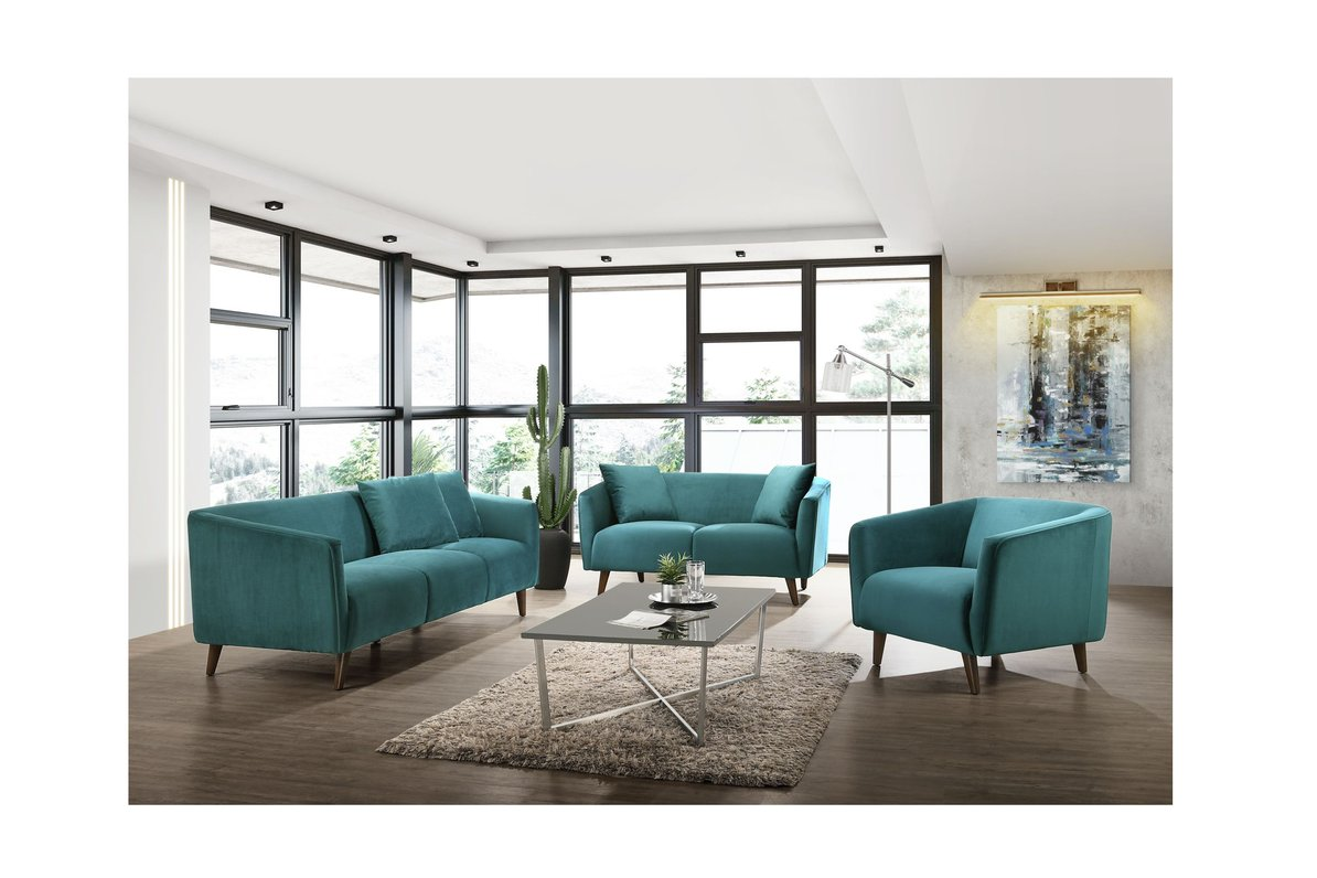 Teal loveseat for spring