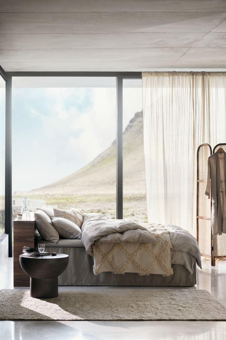 Textured bedspread in a serene bedroom