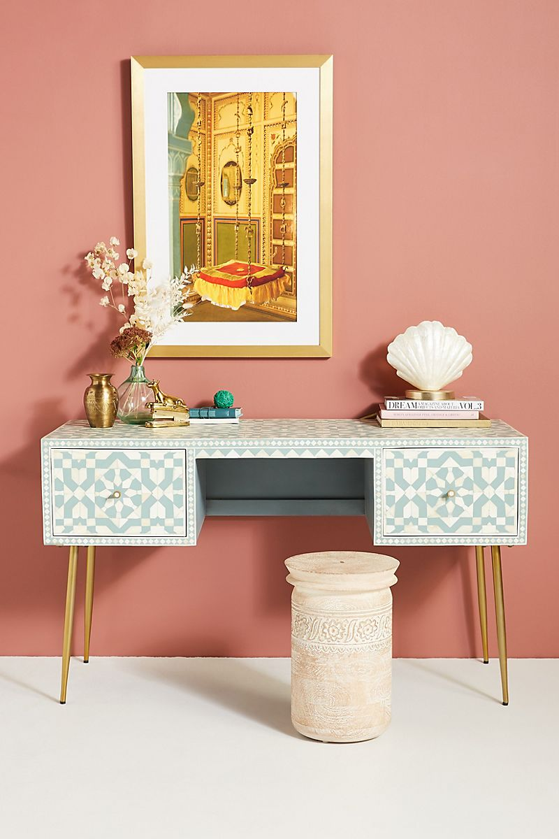 Tiled inlay desk in blue and white