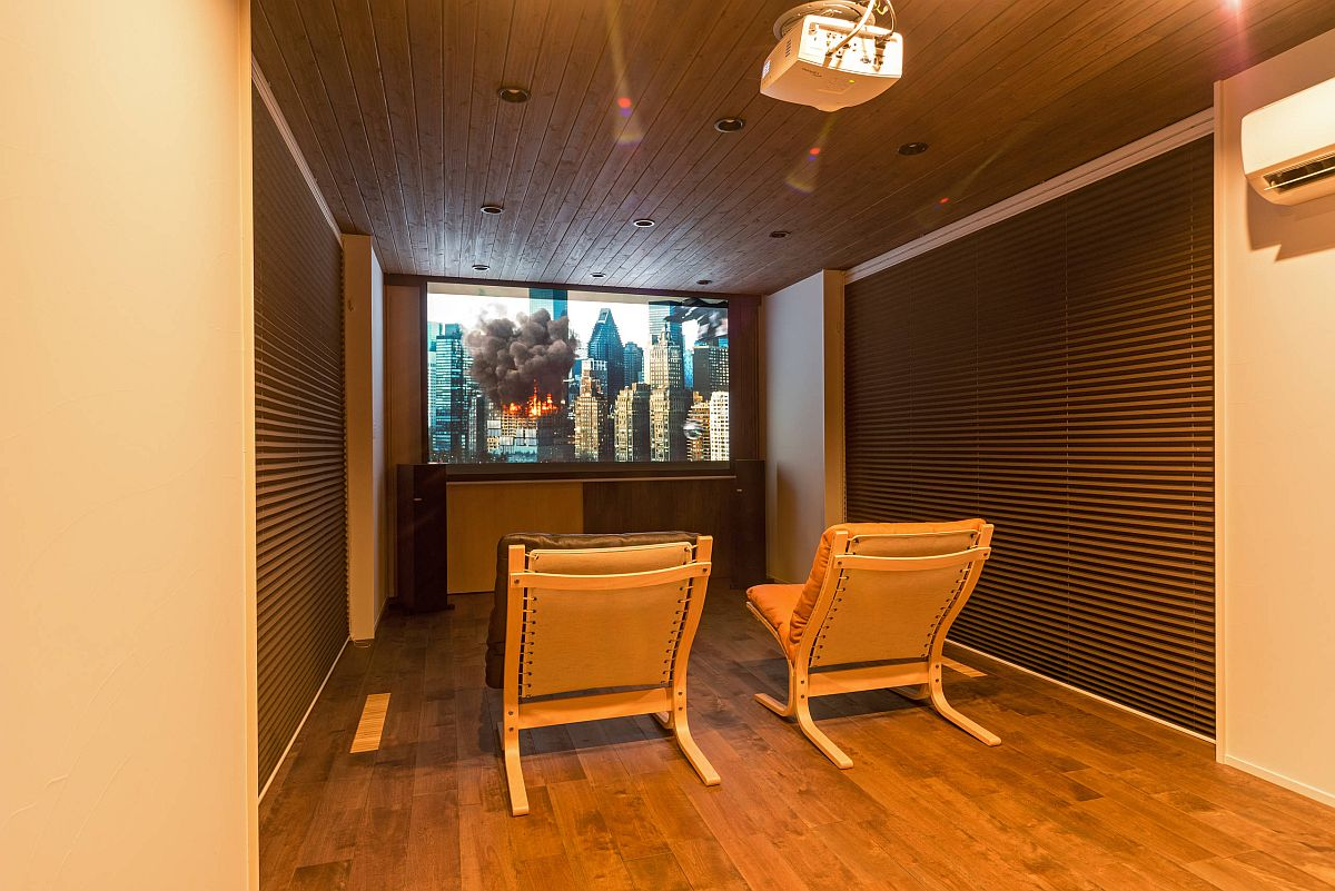 Tiny Asian style home theater in wood is both warm and unique