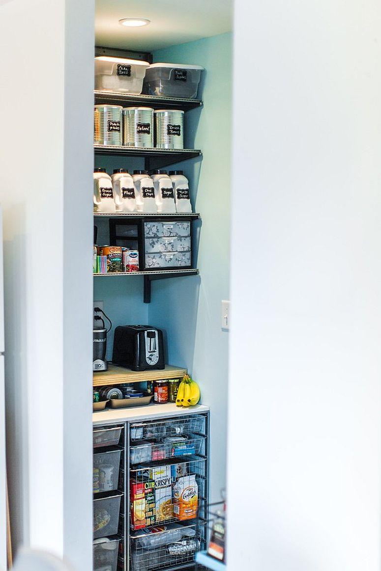 Tiny industrial pantry idea saves space and keeps the design simple
