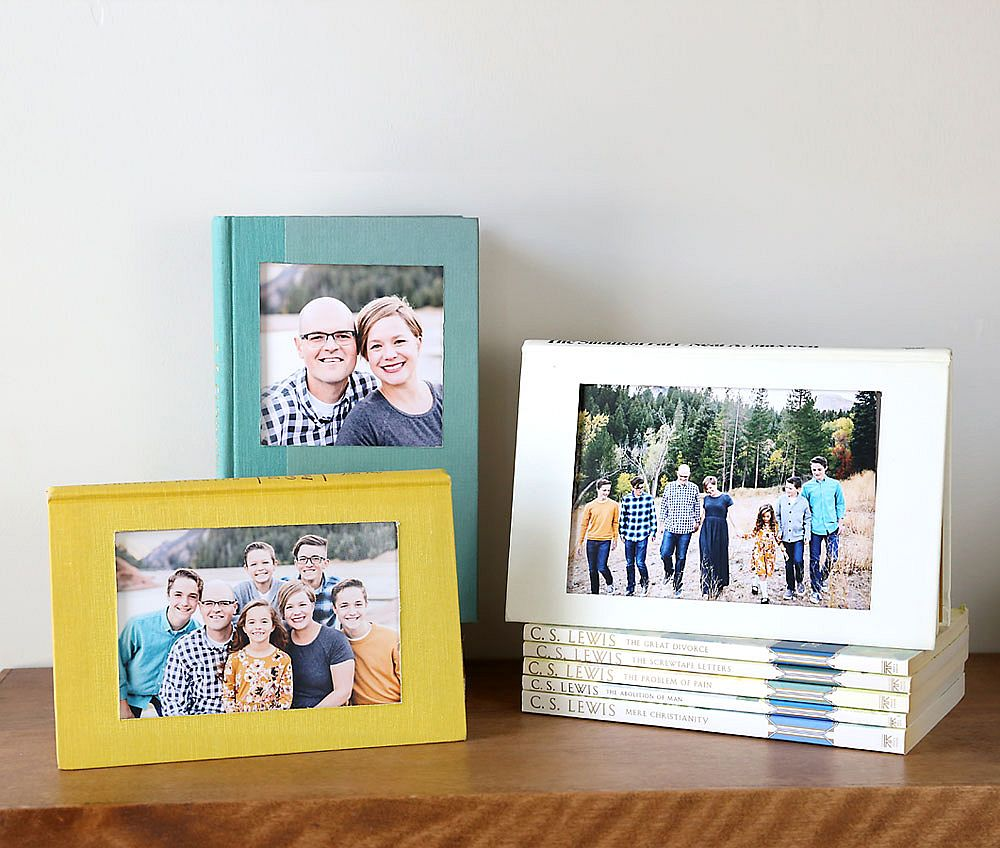 Turn any book into a super-cool and colorful picture frame that fits in anywhere