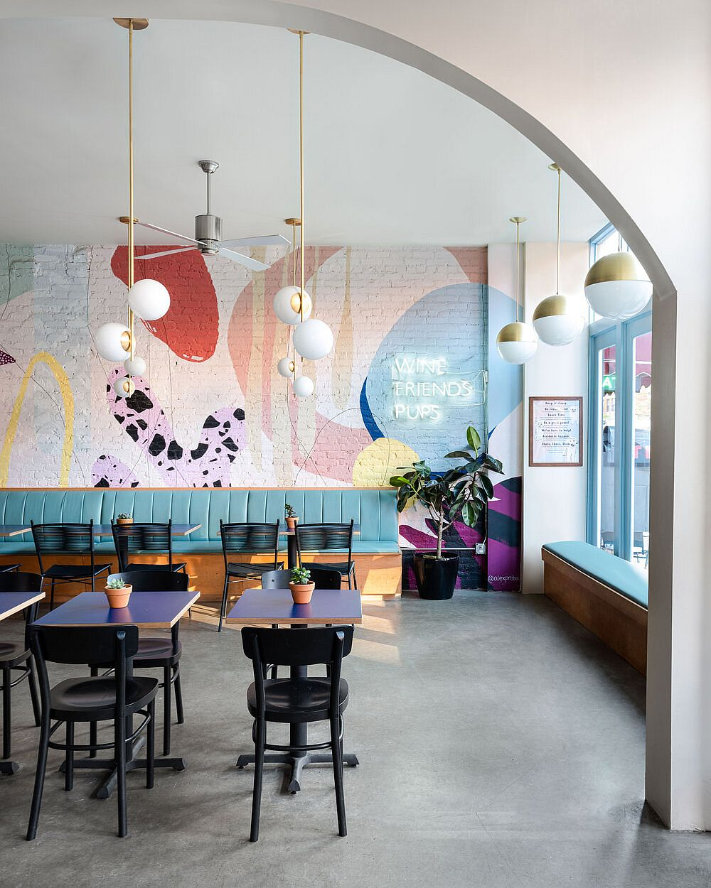 Unique and colorful interior of Boris & Horton in New York City with a pet-friendly design