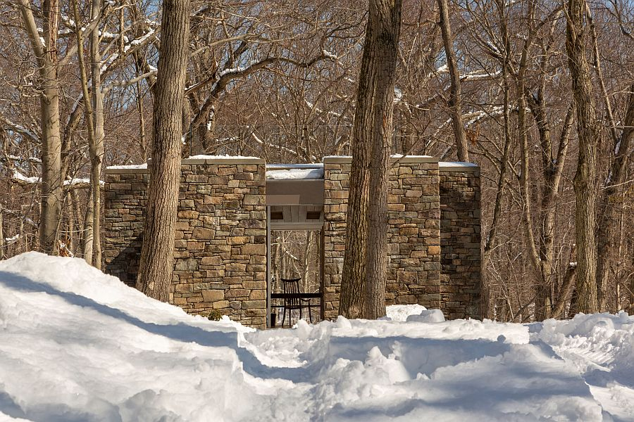 Walls in fieldstone and bluestone shape the fabulous writer's studio away from the main house