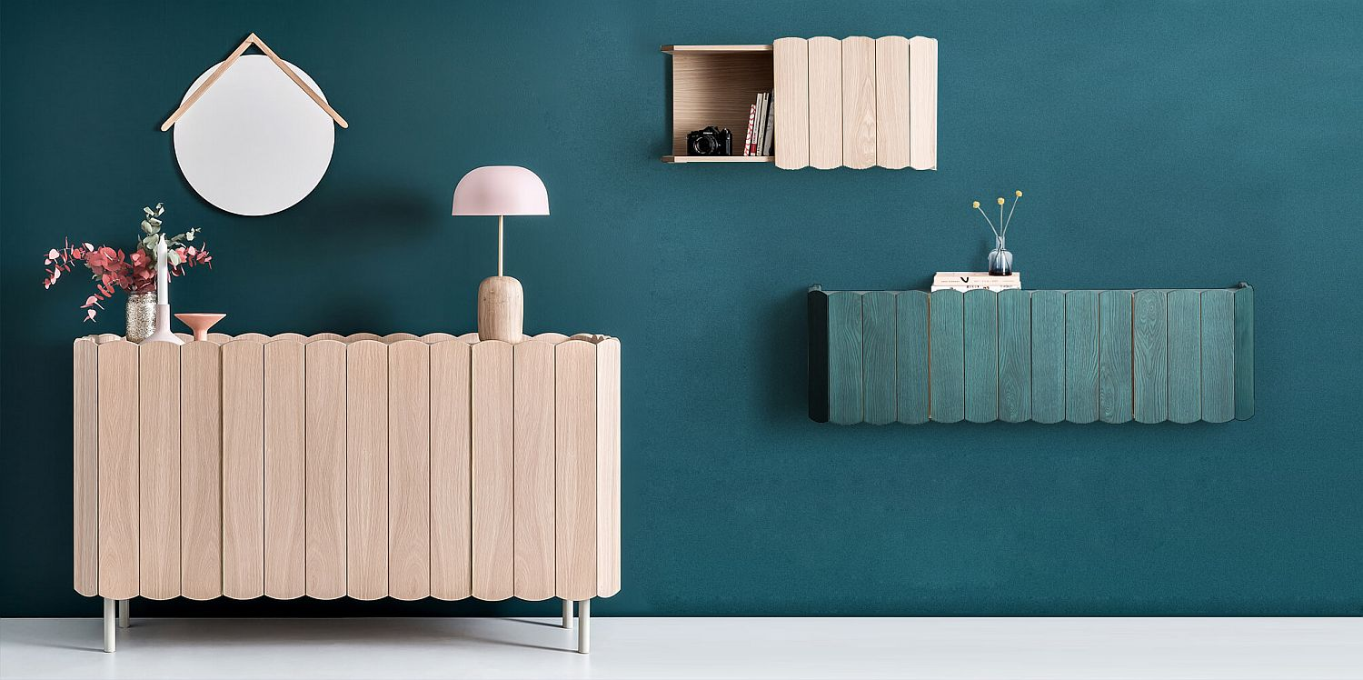 A beautiful matching buffet for your unique wall-mounted shelves that are just picture-perfect