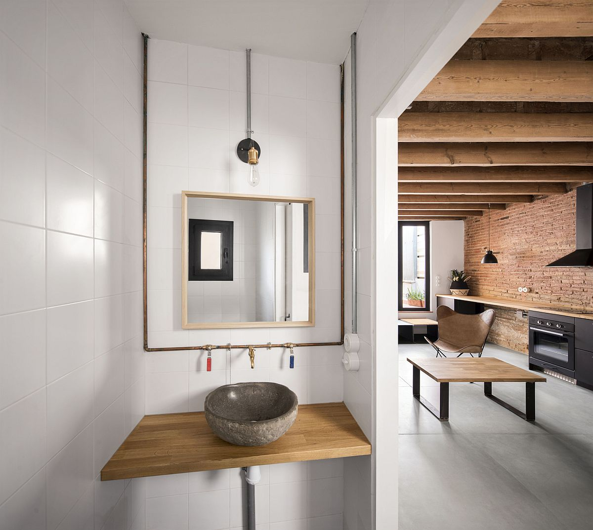 Bathroom and shower area are separated from rest of the apartment interior
