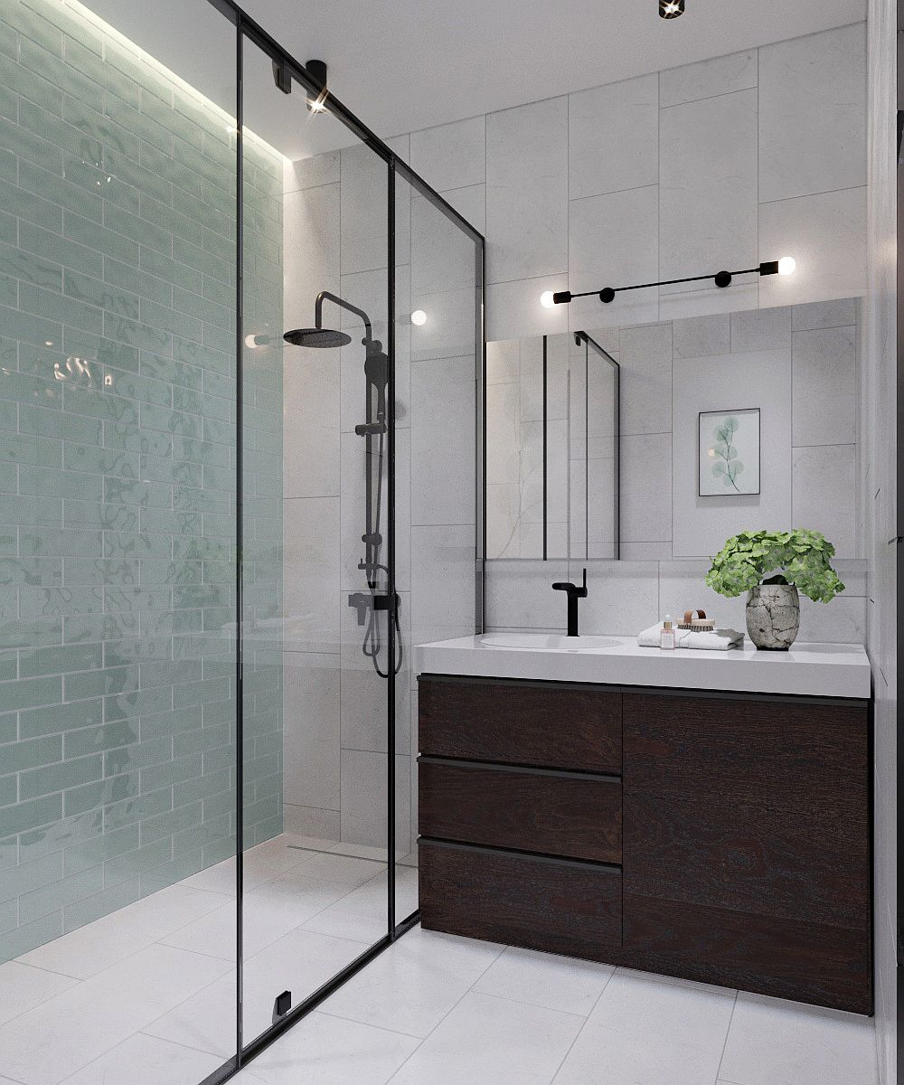 Bathroom in neutral hues with wooden vanity