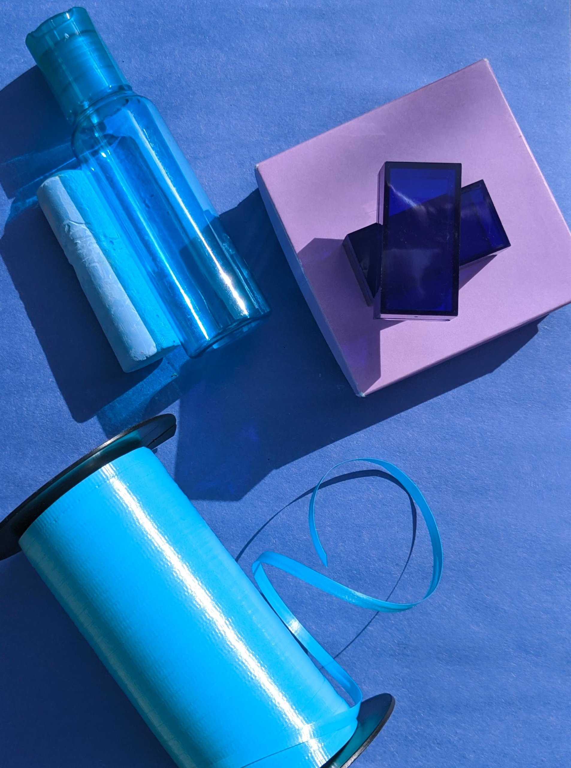Blue and purple arts and crafts supplies