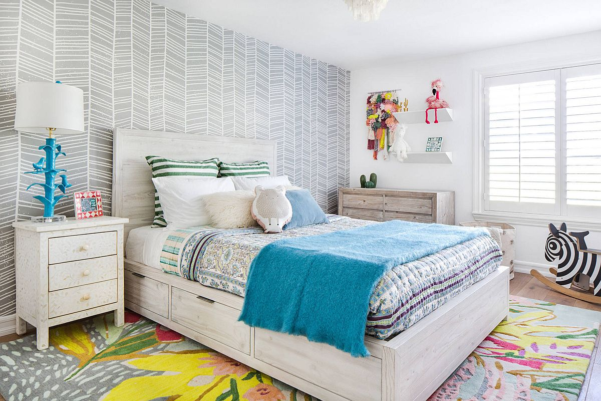 Carpet-and-bedding-bring-color-into-this-neutral-bedroom-in-gray-full-of-pattern-11355