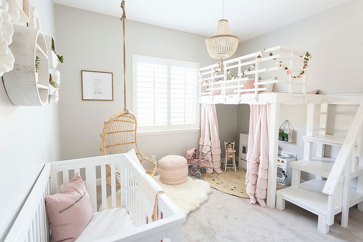 Charming gray, white and pink nursery has a modern shabby chic style