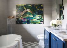 Chervron-pattern-floor-in-white-and-gray-along-wth-blue-vanity-in-the-contemporary-bathroom-75825-217x155