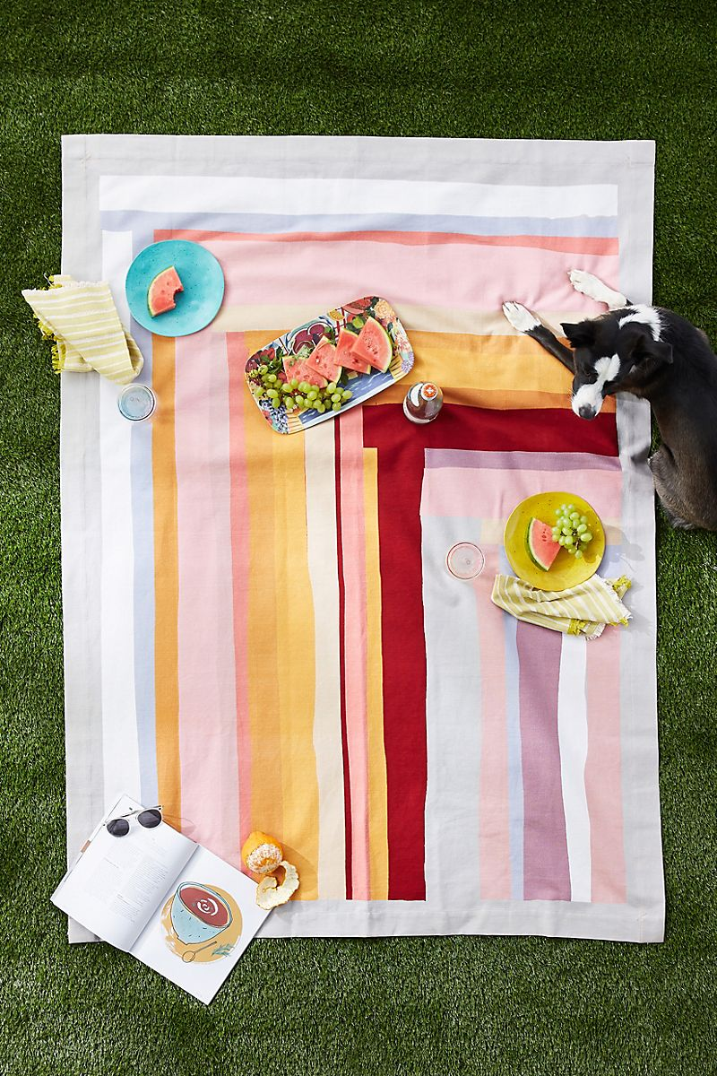 Colorful picnic blanket with stripes