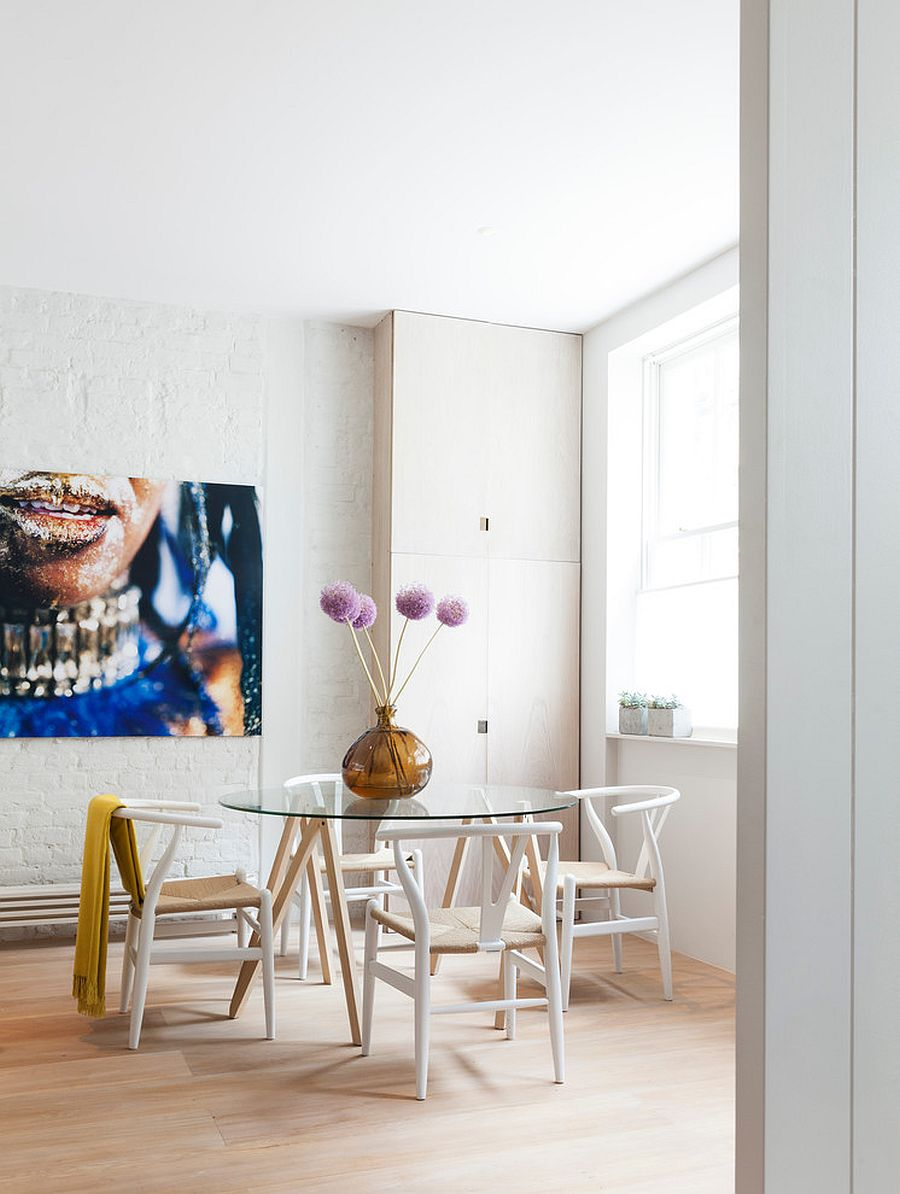 Colorful wall art for dining space with contemporary style inside London home
