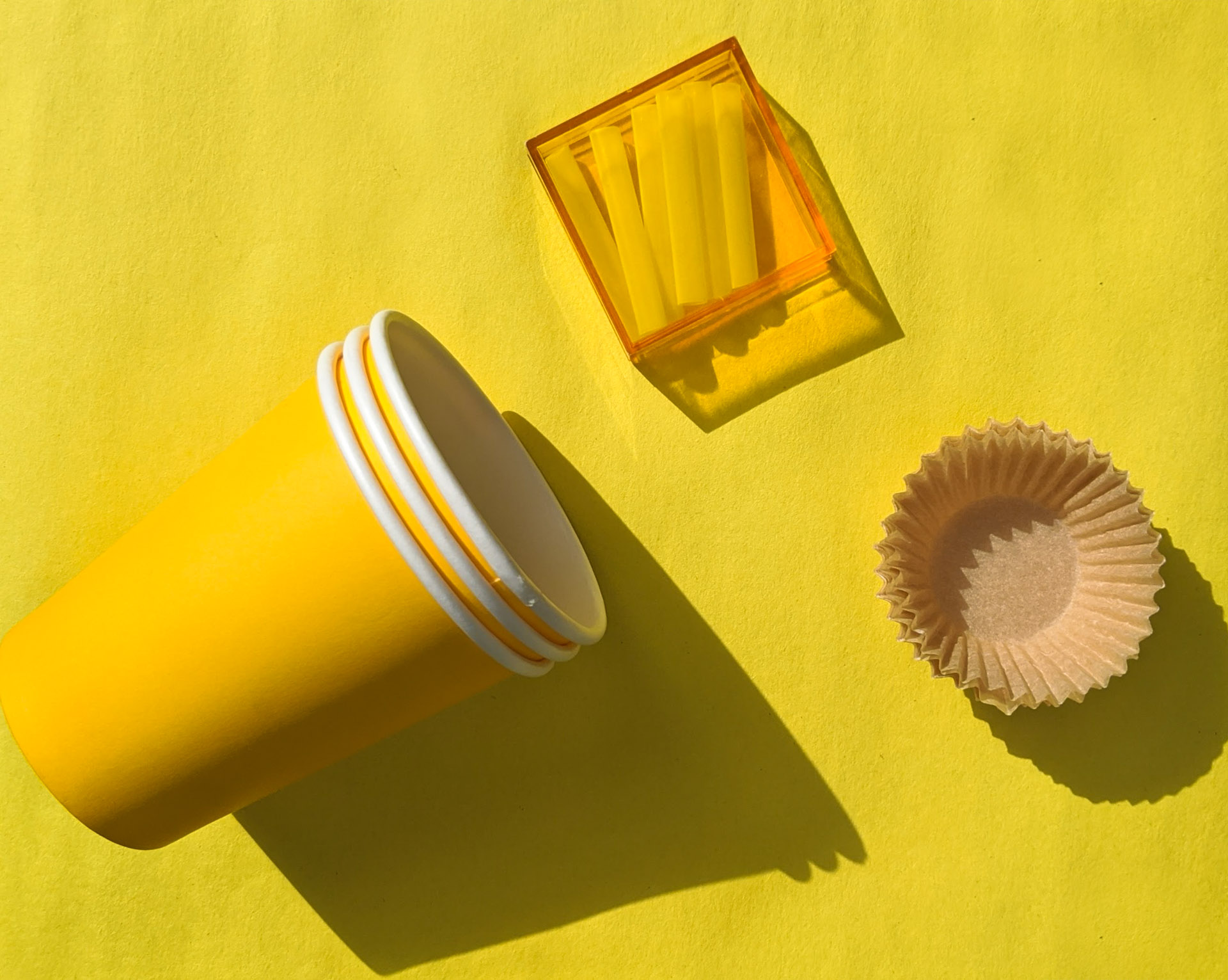 Craft supplies in shades of yellow