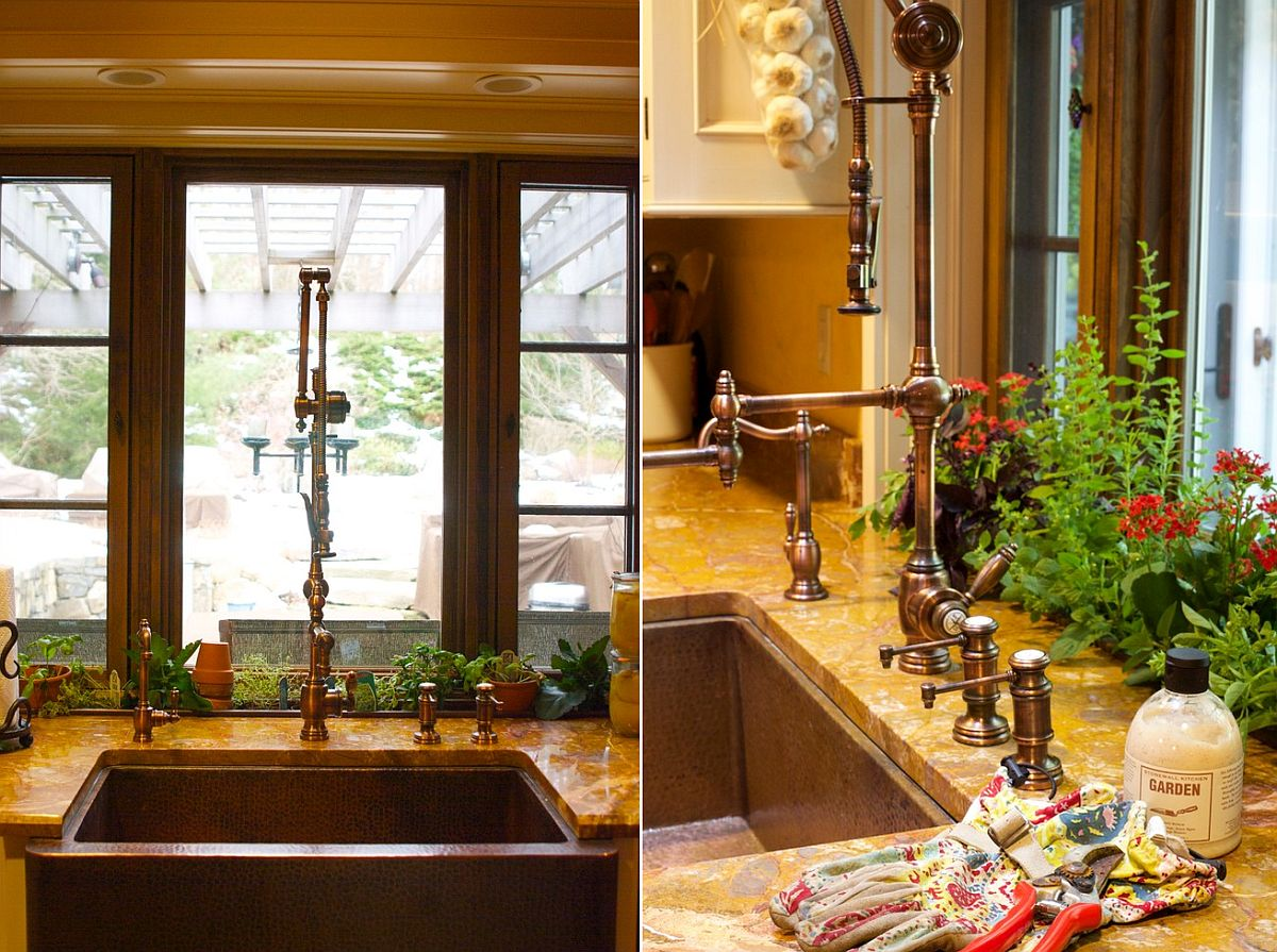 Custom herb bin in the Mediterranean kitchen that drains directly into the sink