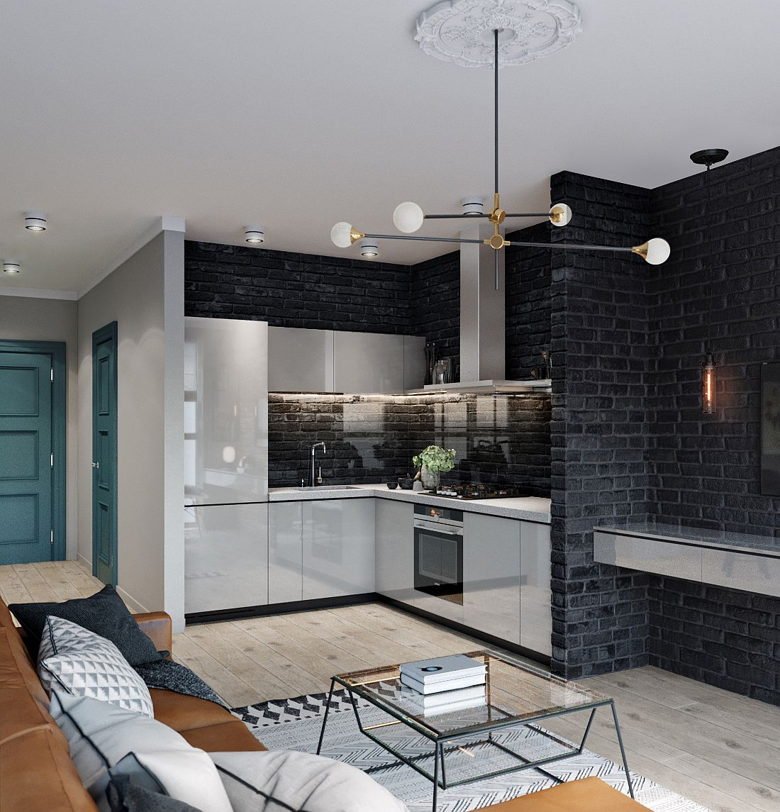 Dark brick walls create a lovely backdrop in this modern home with space-savvy design