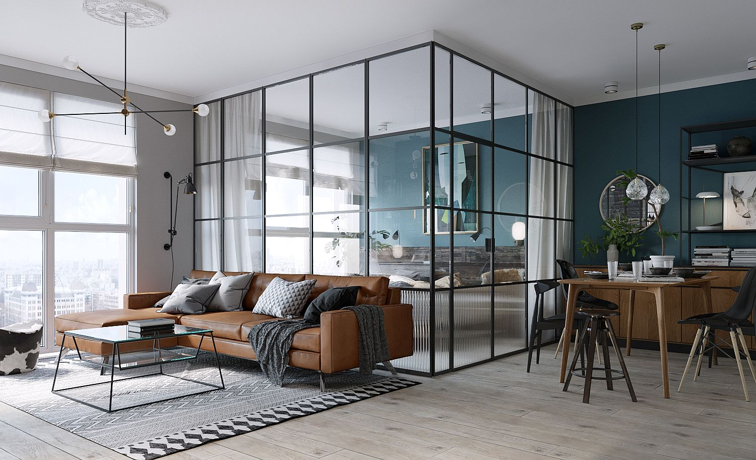 Dark framed glass walls create the bedroom in this small Kiev apartment that is 45 square meters in space
