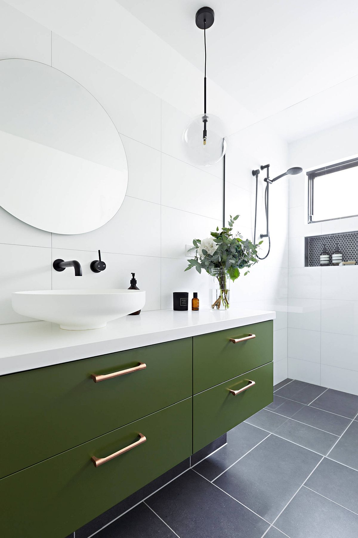 Dashing dark olive green vanity for the bathroom in white