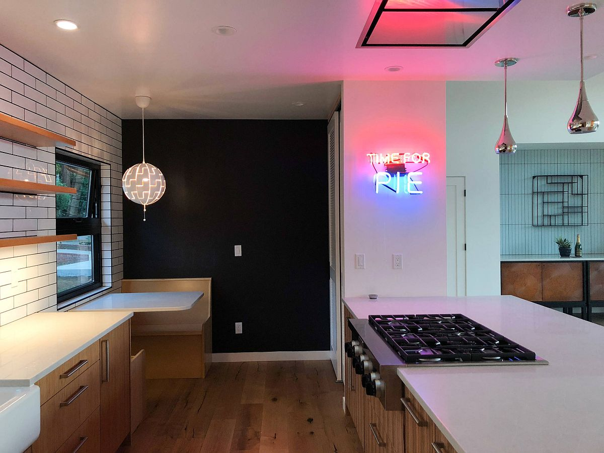 Dashing neon sign in the kitchen spells out 'time for pie'