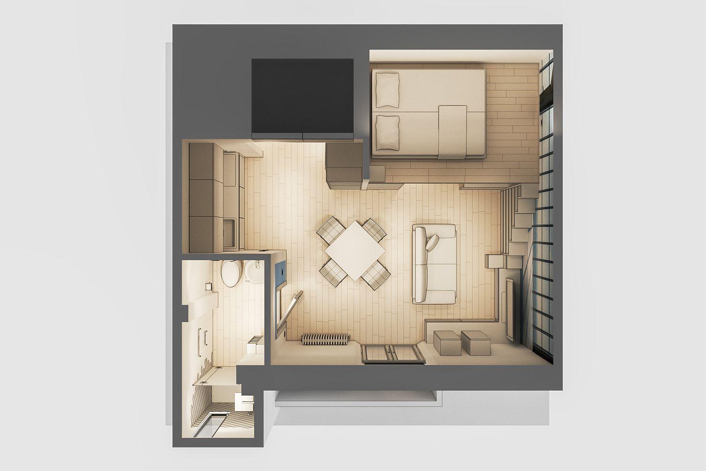Design plan of Studio Apartment for Students in Milan