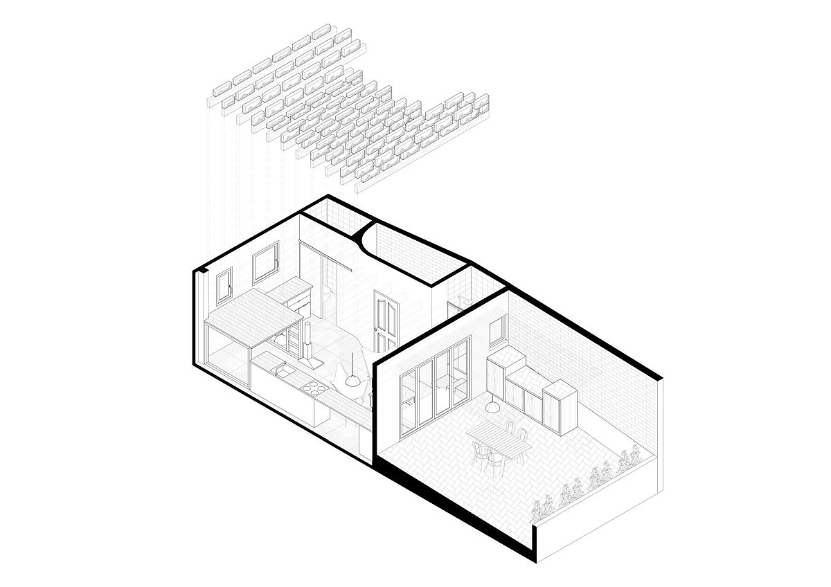 Design plan of revamped penthouse apartment in Barcelona