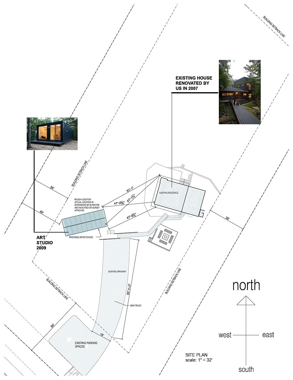 Design plan of the Art Studio in context of the home and woods all around