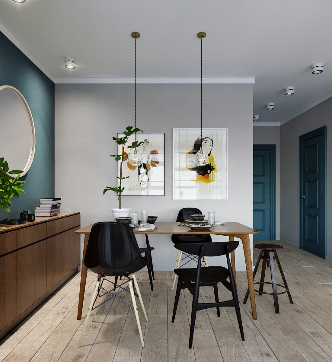 Dining room with a neutral color palette, blue accent wall and wooden storage unit