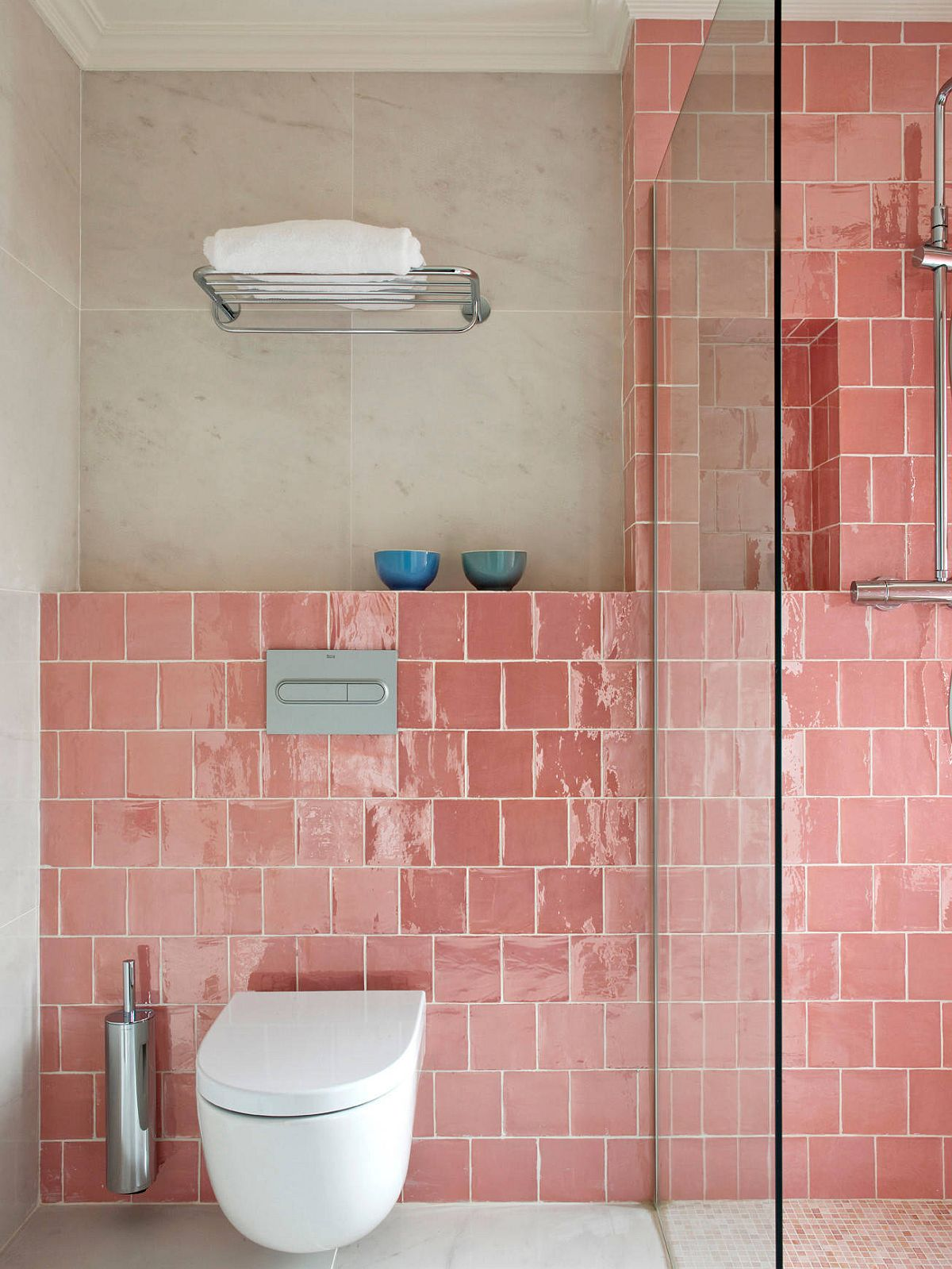 Eclectic bathroom with pink tile for the shower area