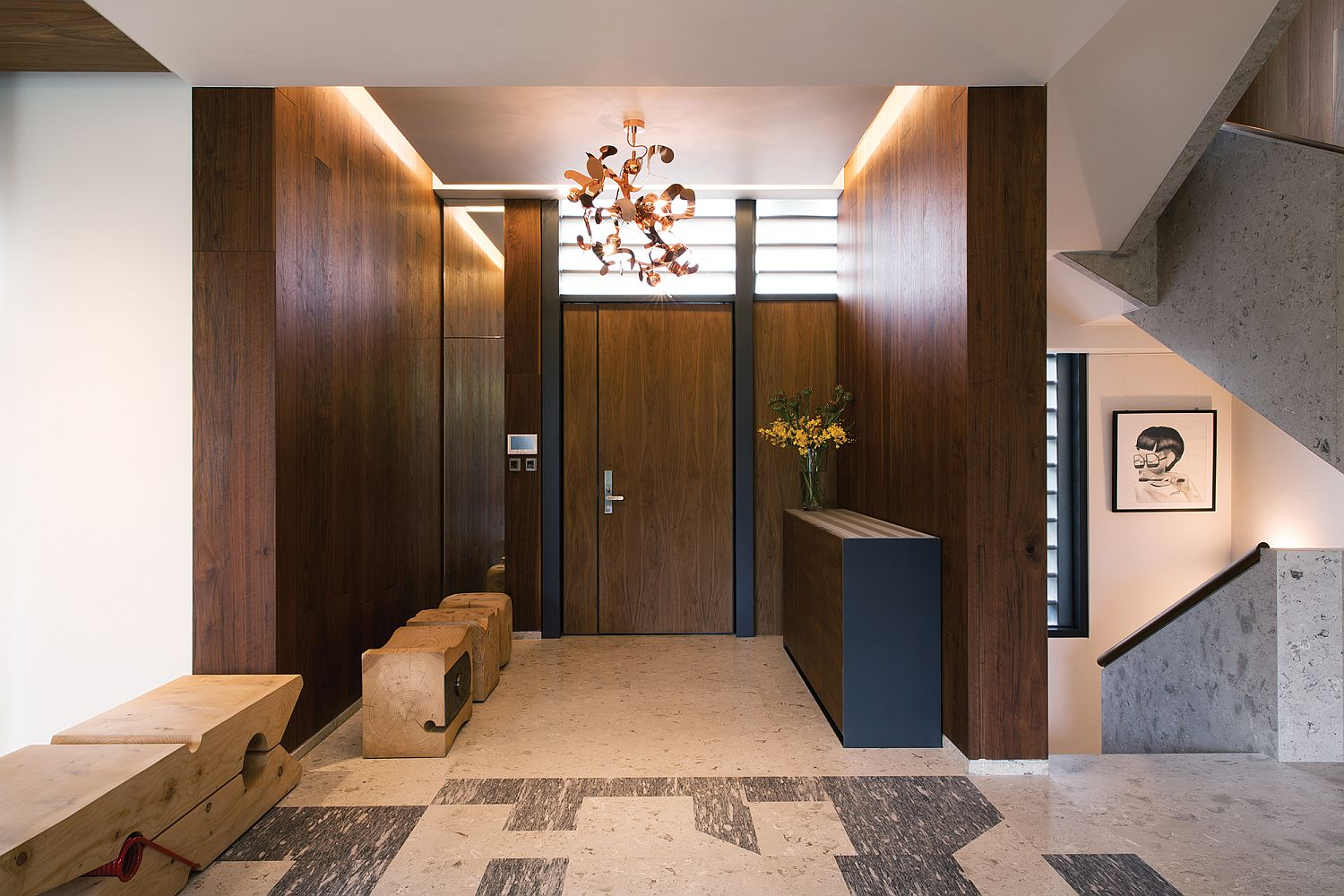 Entrance of the house with whimsical bespoke decor additions in wood