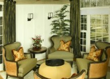 olive green chairs and drapes in sitting room