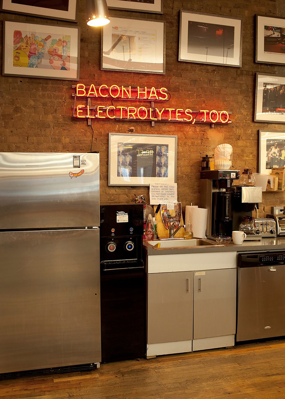 Express your food philosophy with a vintage neon sign in the kitchen