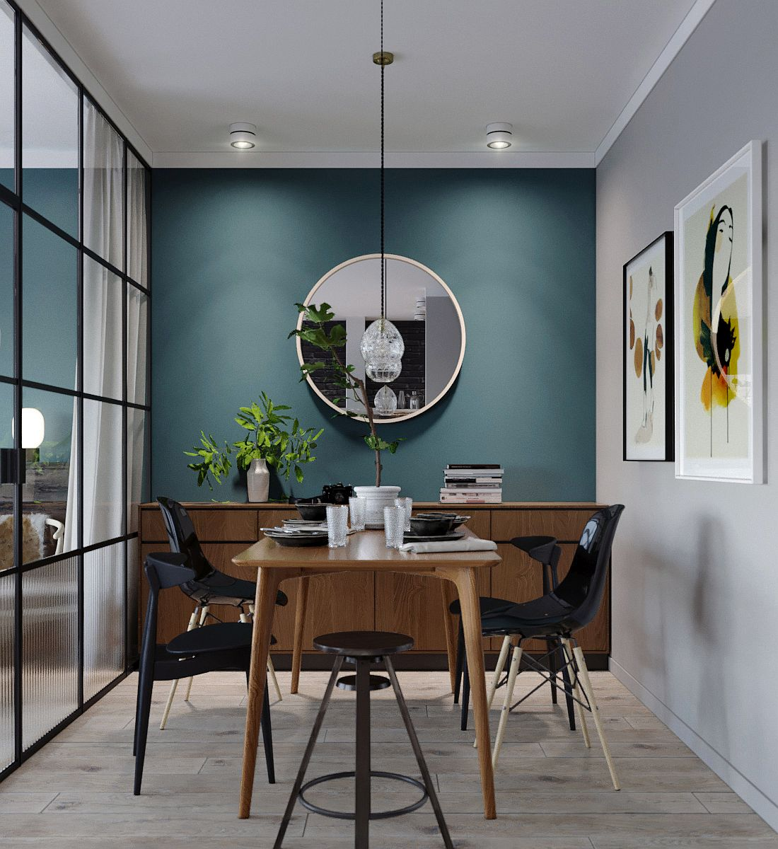Fabulous bluish-green accent wall is a part of boh the bedroom and the living room