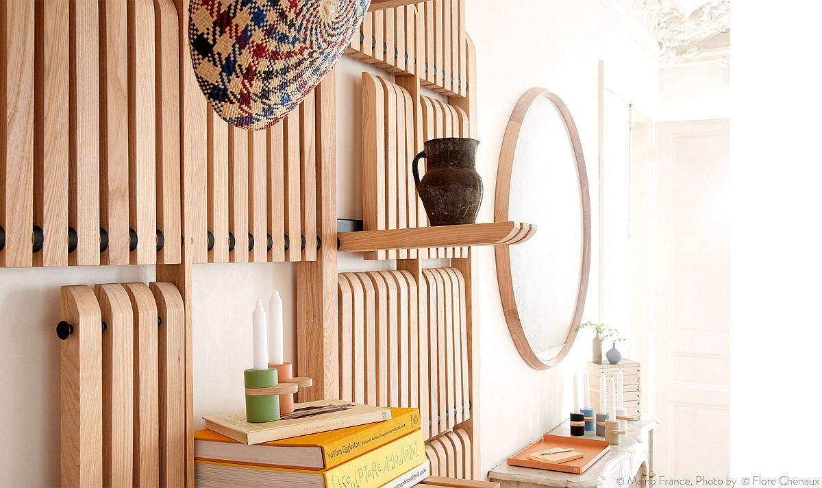 Flexible and folding wooden shelves can be arranged in different configurations