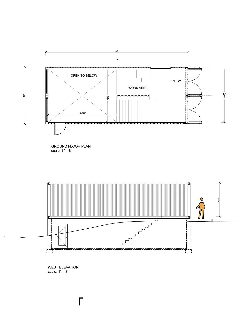 Floor plan and elevation of the modern art studio made from old shipping containers