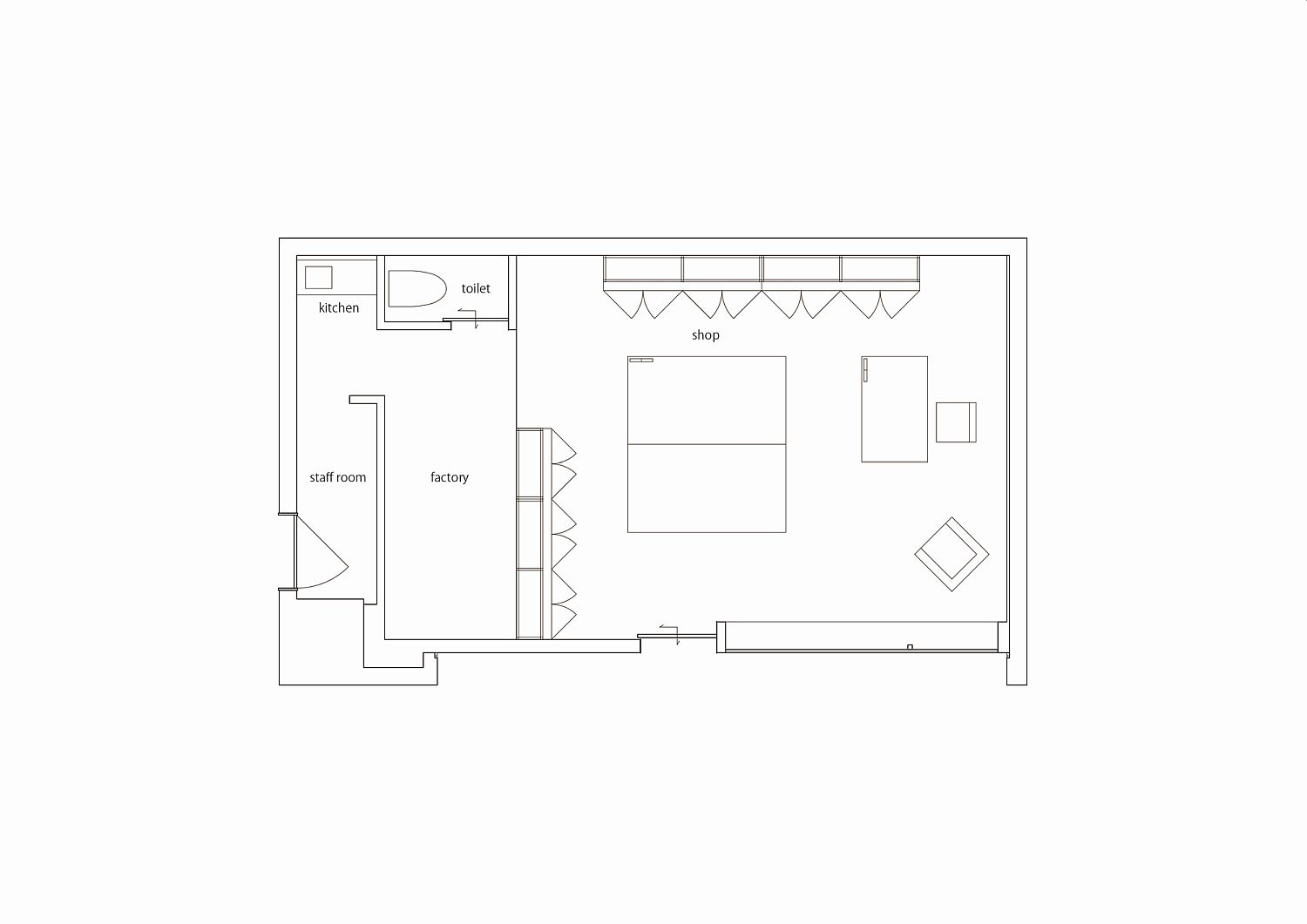 Floor plan of Sunawachi leather shop in Japan with a writer's studio next to it