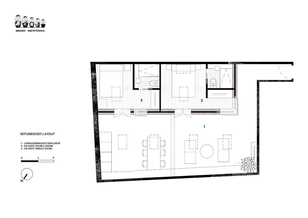 Floor plan of innovative Apartment Matryoshka in Madrid