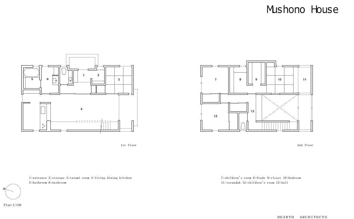 Floor plan of modern Mushono House in Japan