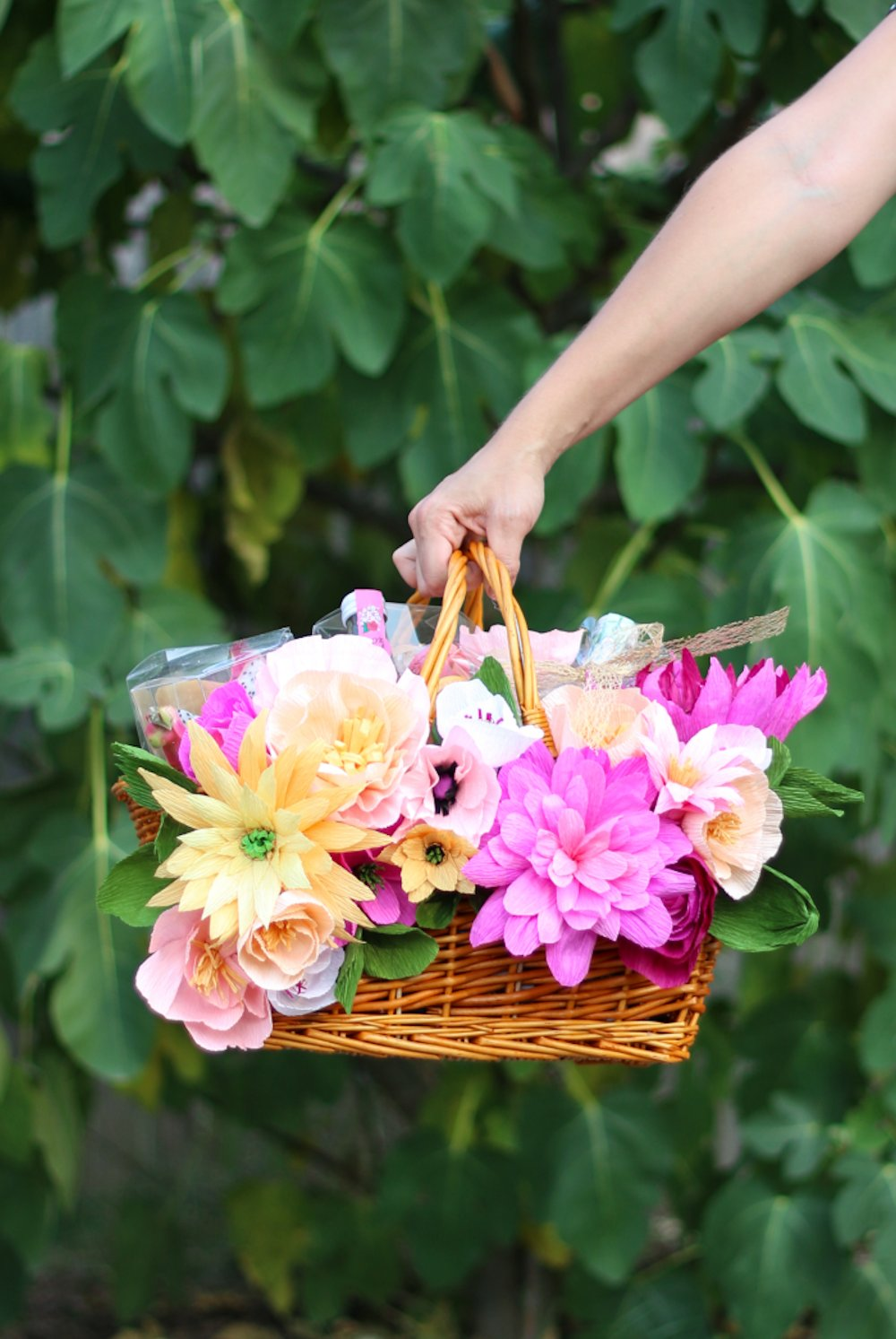 Floral picnic basket from A Beautiul Mess